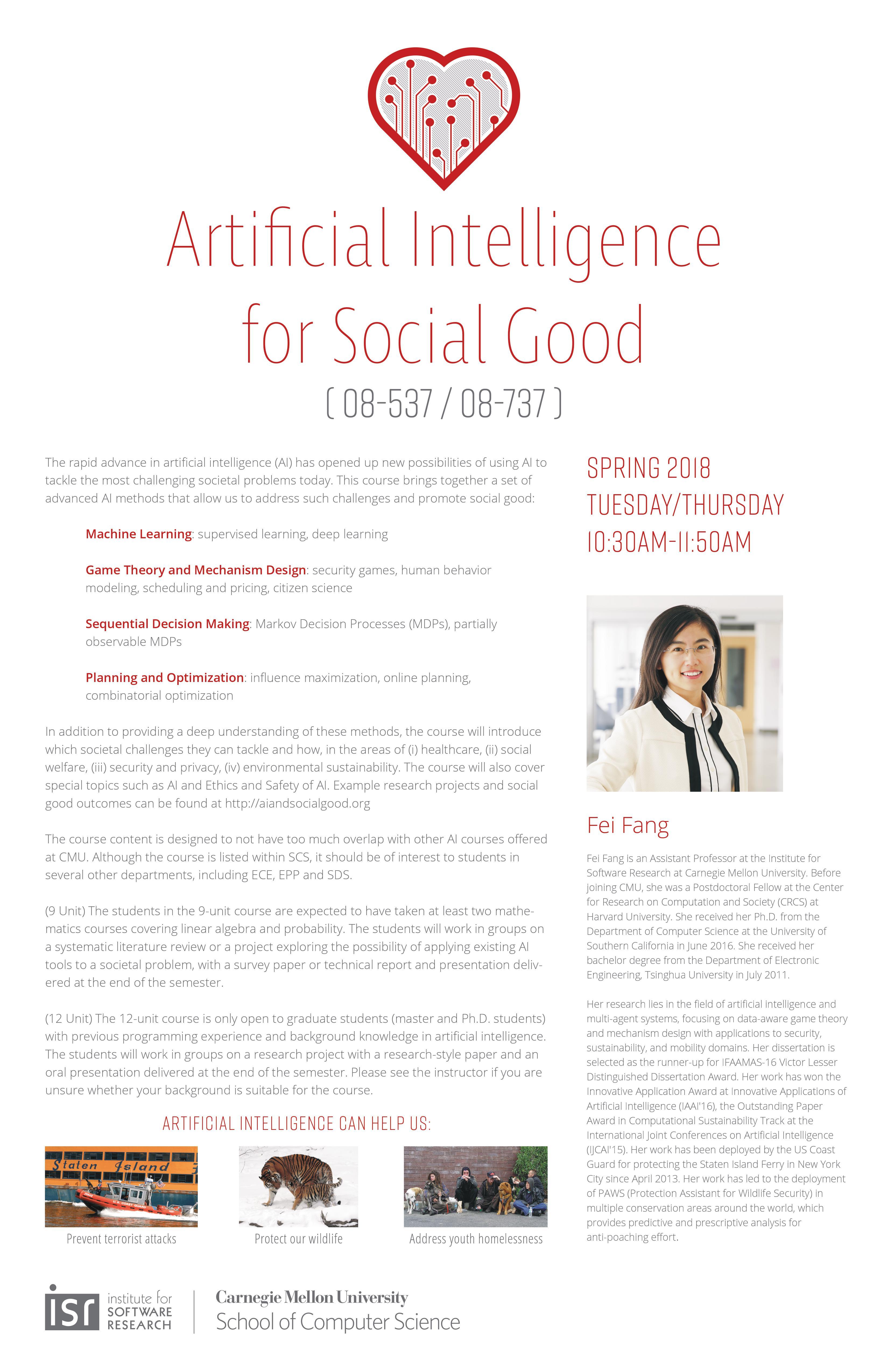 Artificial Intelligence Methods for Social Good (Spring 2018